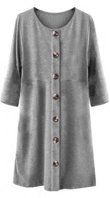 Šedé dámské šaty s knoflíky a nadýchanými rukávy (233ART) šedá ONE SIZE