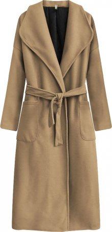 Dlouhý kabát v karamelové barvě s páskem pro zavazování (7981) hnědá ONE SIZE