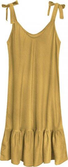 Dámské šaty v hořčicové barvě s volánkem (393ART) žlutá ONE SIZE