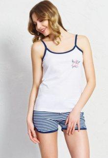 Dámské pyžamo šortky na ramínka Summer bílá/azurová S