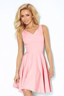 Pastelově růžové šaty s výstřihem ve tvaru srdce model 4976437 XL