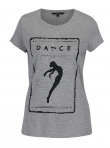 Světle šedé žíhané tričko s krátkým rukávem a potiskem VERO MODA Dance Studio