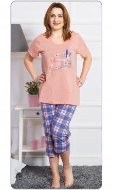 Dámské pyžamo kapri Adventure meruňková 1XL