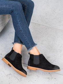 Exkluzívní černé  kotníčkové boty dámské na plochém podpatku 36