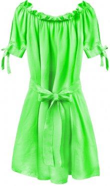 Dámská tunika ve španělském stylu v neonově zelené barvě s páskem (279ART) zelená ONE SIZE