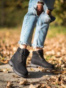 Trendy dámské černé  kotníčkové boty na plochém podpatku 36