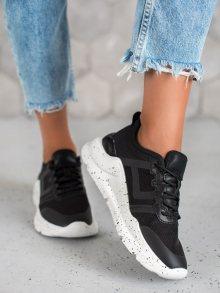 Trendy černé dámské  tenisky bez podpatku 37