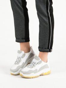 Designové bílé dámské  tenisky bez podpatku 40