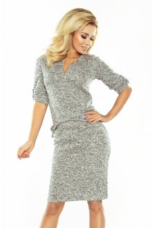 Dámské teplé svetříkové šaty s límečkem v grafitově melanžové barvě model 6759837 XL