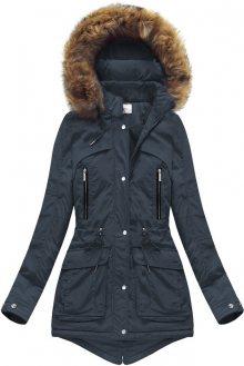 Tmavě modrá dámská zimní bunda s kapucí (7307) tmavěmodrá XL (42)
