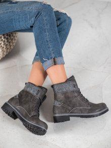 Zajímavé dámské šedo-stříbrné  kotníčkové boty na plochém podpatku 36