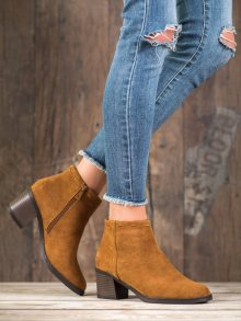 Exkluzívní hnědé  kotníčkové boty dámské na širokém podpatku 36