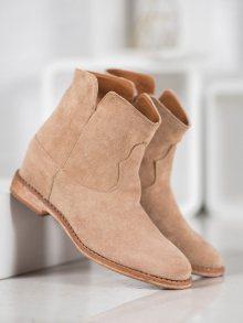 Moderní hnědé dámské  kotníčkové boty na klínku 36