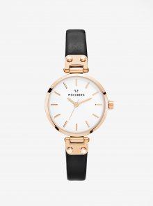 Dámské hodinky v růžovozlaté barvě s černým koženým páskem MOCKBERG Sigrid petite