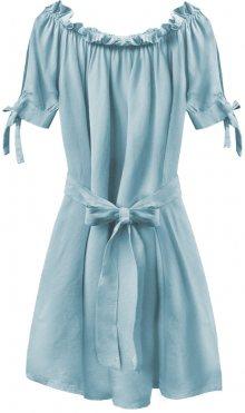 Světle modrá dámská tunika ve španělském stylu s páskem (279ART) modrá ONE SIZE