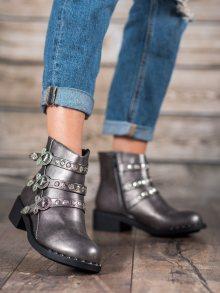 Módní  kotníčkové boty dámské šedo-stříbrné na širokém podpatku 36