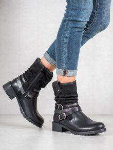Pohodlné  kotníčkové boty černé dámské na plochém podpatku 36