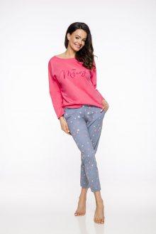 Dlouhé dámské pyžamo 2314 MOLLY S-XL 2019/2020 J malinová XL