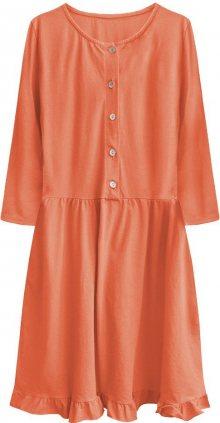 Oranžové bavlněné dámské oversize šaty (305ART) oranžová ONE SIZE