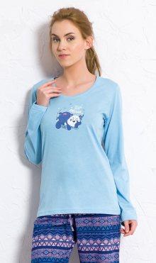 Dámské pyžamo dlouhé Panda světle modrá S