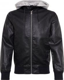 TOM TAILOR DENIM Přechodná bunda \'hooded fake leather jacket\' černá