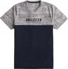 HOLLISTER Tričko \'BLOCK/TAPE\' námořnická modř / šedá