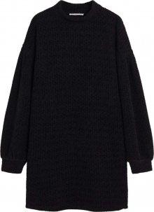 MANGO Úpletové šaty černá