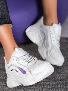 Jedinečné dámské  tenisky bílé bez podpatku