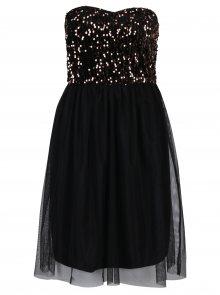 Černé šaty bez ramínek s tylovou sukní a flitry v bronzové barvě ONLY Confidence