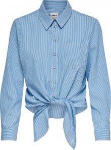 ONLY Dámská košile ONLLECEY LS STRIPE KNOT DNM SHIRT Cloud Dancer MEDIUM BLUE 38