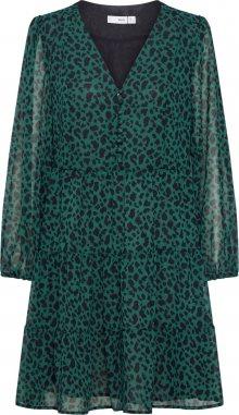 MANGO Košilové šaty \'PRARIE\' zelená / černá