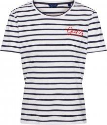GANT Tričko tmavě modrá / bílá