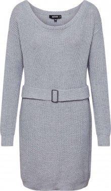 Missguided Úpletové šaty \'Off Shoulder Belted Mini Dress\' šedá
