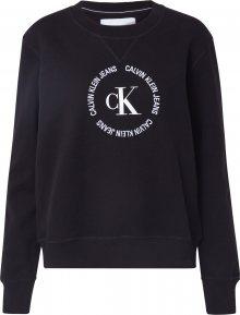 Calvin Klein Jeans Mikina černá / bílá