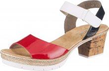 RIEKER Páskové sandály bílá / červená / černá