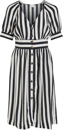 Vila Dámské šaty VISUSASSY S/S DRESS /SU White Alyssum BLACK 34
