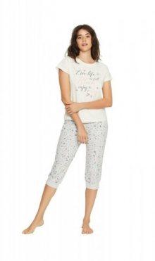 Henderson Ladies 38050 Favorite Long dámské pyžamo S ecru-šedá