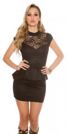 Koucla Dámské černé šaty s peplum