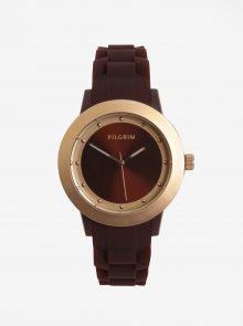 Dámské hodinky v růžovozlaté barvě s vínovým silikonovým páskem Pilgrim