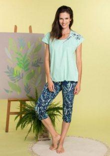 Key LNS 915 A20 dámské pyžamo M mátový melanž-tmavě modrá