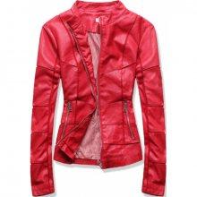 Červená koženková bunda s prošíváním