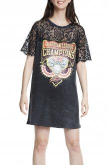 Desigual černé šaty Vest Champions s krajkou - M