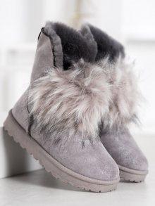 Moderní dámské šedo-stříbrné  sněhule bez podpatku