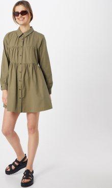 GLAMOROUS Košilové šaty olivová / zelená