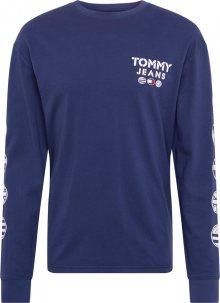 Tommy Jeans Tričko \'TJM BUBBLED FLAGS LONGSLEEVE TEE\' tmavě modrá