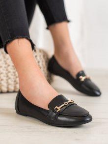 Klasické černé  baleríny dámské bez podpatku