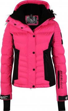 Superdry Snow Outdoorová bunda \'LUXE SNOW PUFFER\' pink / černá