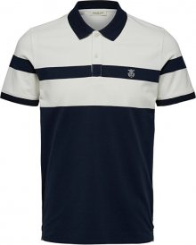 SELECTED HOMME Pánské polo triko SLHARO EXCLUSIVE SS POLO W Egret Placed Stripe S