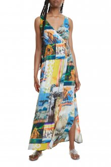 Desigual barevné maxi šaty Vest Hawai - S