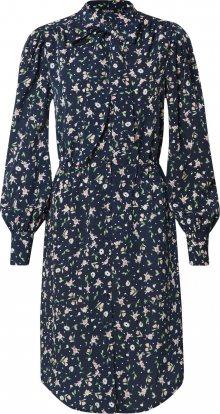 Boohoo Letní šaty \'Floral Button through Dress with Pussy Bow\' tmavě modrá